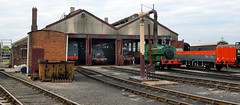 Great Western Railway engine shed, 1932 - Didcot Railway Centre, Didcot, Oxfordshire, England. (edk7) Tags: nikond3200 nikonnikkor18200mm13556gedifafsvrdx edk7 2016 uk england oxfordshire didcot greatwesternsociety didcotrailwaycentre greatwesternrailway gwr railwaymuseum engineshed 1932 preservationengineeringsite steamlocomotive train mechanical machine vintage classic restored architecture building oldstructure industrial industry track sleeper rail rwy rr railroad railway tankengine rollingstock bulkgoodswagon