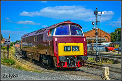 Class 52 - D1062 (Zoly060-DA) Tags: uk united kingdom locomotive diesel hydraulic co red white blue yellow brown green class 52 kiddeminster railroad rails lines sign signal station westerner crew works british maybach