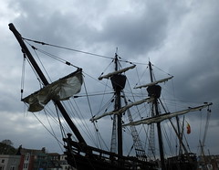 Rigging, sails, masts and crow's nests under an angry sky.... Nao Victoria... replica of the first ship to circumnavigate the world 1519-1522... (Sue - happy sparrow) Tags: naovictoria victoria firstcircumnavigtion circumnavigation spanishship weymouth harbour ships houses weymouthharbour spanishcarrack carrack sail sailingship explorer
