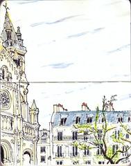 Paris, Eglise Saint-Ambroise (nicosolemio) Tags: paris saintambroise église sketch aquarelle watercolor