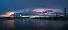 Donau - bei Sonnenuntergang (Georg_Wodarz) Tags: sonnenuntergang sunset wien vienna danube donau ship schiff fluss wolken dynamik panorama vic dctower amazing