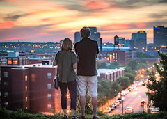 standing against the persistence of time (Sky Noir) Tags: outdoor couple sunset urban richmond va rva virginia man woman night twilight dusk city lights overlook