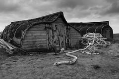 Upturned Fishing Boats (Brian Dunning) Tags: upturnedboats herringboats lindisfarne holyisland harbour sea sky northumberland canon eos5dmarkiii ef24105mmf4lisusm monochrome fishermenssheds