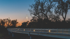bob kerrey pedestrian bridge at sunset (laughlinc) Tags: omaha skyline city cityscape