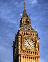 Big Ben & the Moon (neilalderney123) Tags: ©2017neilhoward london bigben clock westminster tower moon olympus travel