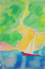 Sailboat #1 (BKHagar *Kim*) Tags: bkhagar art artwork painting paint watercolor sailboat boat sea ocean