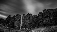 The Feathers (Chris Lakoduk) Tags: frenchman coulee the feathers grant county landscape long exposure black white monochrome photography time rocks basalt columns nature hiking climbing scenery