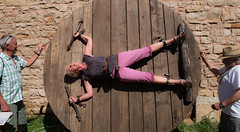 Medieval Perversion (adamnsinger) Tags: perversion torture croatia illyrian idyll istria 2017 bondage wheel straps woman pink trousers handcuffs hand cuffs shackle