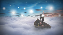 Fishing for Stars (neil rushby photography) Tags: photoshop fantasy art artistic creative surreal surrealism young boy collector boat stars fishing clouds sky night nightsky nighttime dreams dreamland dreamlike ethereal montage manipulation afterdark nocturnal