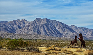 Laguna Mountain Range and metal sculptures in Anza-Borrego Desert State Park, California