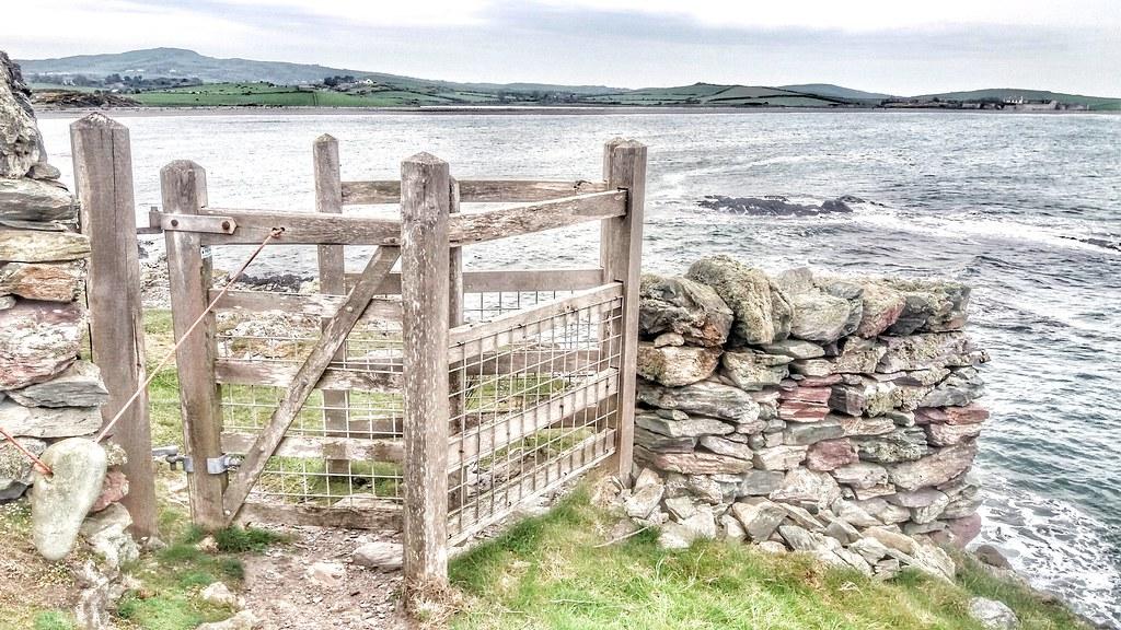 Gate view of Cemlyn beach.