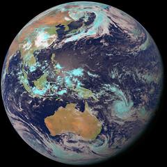 Western Pacific Basin with Dust from China (sjrankin) Tags: 7may2017 edited weather climate dust hokkaido japan jaxa korea koreanpeninsula pacificocean seaofjapan china russia himawari8 easternhemisphere pacificbasin australia india indonesia southpole storms