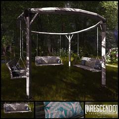 [Kres] Triad Benches White ([krescendo]) Tags: cosmo cosmopolitan secondlife kres krescendo outdoorfurniture gardenfurniture firepit benches bench seating home decor