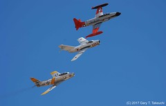 Planes of Fame Air Show 2017 - CT-133, MiG-15bis and F-86F in formation (g_takeuchi) Tags: planesoffame airshow 2017 chino california cno kcno airport warbird warbirds airplane airplanes plane planes aircraft jet fighter trainer vintage flying flight flyable airworthy ca formation canadair ct133 pacemaker 21377 nx377jp n377jp silverstar3 mikoyangurevich mig15bis mig15 91051 nx87cn n87cn northamerican f86f f86 sabre 525012 n186am koreanwar war soviet russian t33 aviation aeroplane aeroplanes airdisplay dsc9691c