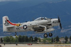 Planes of Fame Air Show 2017 - Douglas A-1D Skyraider; c/n 7797, BuNo 126997, NX409Z (g_takeuchi) Tags: planesoffame airshow 2017 chino california ca cno kcno airport warbird warbirds airplane airplanes plane planes aircraft vintage comanchewarbirds douglas a1d a1 ad4 skyraider 7797 126997 nx409z n409z friedkin takeoff flyable flying airworthy flight explore dsc6868c aviation aeroplane aeroplanes airdisplay