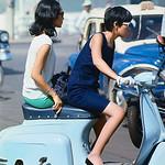 SAIGON 1967 - Two Vietnamese Women Riding on Motorcycle thumbnail