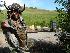 #ourcanada150 (Mr. Happy Face - Peace :)) Tags: art2017 cans2s yyc statue firstnation albertabound htt canada150 cowtown hbm benched happybenchmonday portrait bronze chief warrior proud nation hunter prairies blackfoot wtbw