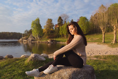 (Øyvind Bjerkholt (Thanks for 39 million+ views)) Tags: landscape pose rock beautiful gorgeous pretty hair fashion glamour beauty woman girl sitting canon dof feminine elegance classy mood emotion expression afternoon sunset water beach arendal norway naturallight ambientlight artistic