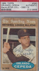 1962 Topps / NL All-Star - Orlando Cepeda #390 (First Base) (Hall of Fame 1999) (PSA Certified / Mac) - Autographed Baseball Card (San Francisco Giants) (Baseball Autographs Football Coins) Tags: 1962 topps 1962topps baseball cards baseballcard vintage auto autograph graf graph graphed sign signed signature orlandocepeda sanfranciscogiants firstbase hof halloffame