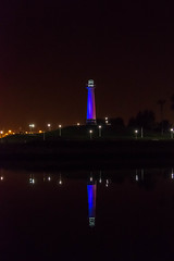 Shoreline Lighthouse (nds6346) Tags: longbeach california usa water night reflections lighthouse colour lighting