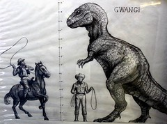 2016-Dinosaur & Cowboys Art at SDCC-01 (David Cummings62) Tags: sandiego ca calif california comiccon con david dave cummings dinosaur cowboys bw art production