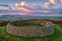 """""""An Grainan of Aileach"""" - The Ancient Ring Fort of Inishowen (Gareth Wray - 10 Million Views, Thank You) Tags: grianan aileach lough swilly foyle ancient irish kings hill lookout fort ring ringed burt county donegal ireland summer landmark stone monument tourist site famous visit scenic countryside druid celtic gareth wray photography inishowen derry londonderry an angrainan sun inch island historic aerial drone dji phantom 4 p4p pro quadcopter heather national gaelic photographer garethwrayphotography vacation holiday europe fahan buncrana sunset kingdom architecture landscape"""