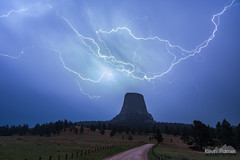 Awestruck (kevin-palmer) Tags: storm stormy thunderstorm weather clouds may spring nikond750 devilstower nationalmonument devilstowernationalmonument wyoming blackhills tamron2470mmf28 dark night lightning bolt strike electric powerful joynerridge unpaved road evening