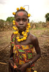 Mursi Girl at Mago (Rod Waddington) Tags: africa african afrique afrika äthiopien ethiopia ethiopian ethnic etiopia ethnicity ethiopie etiopian omo omovalley outdoor mursi tribe traditional tribal costume portrait painted face