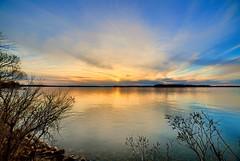 Sunset over Lake Minnetonka (Mercenaryhawk) Tags: canon eos 5ds r 5dsr rokinon 14mm 28 hdr 24105 f4l landscape minnetonka minnesota mn lake water sky blue sunset spring cold ice rocks sun island gale big