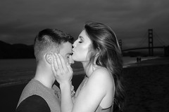 Kiss You're Mine (Jeremy Brooks) Tags: bw bakerbeach blackwhite blackandwhite bridge california gabryanengagement gabriellacamiccia goldengate goldengatebridge kiss kissing mcveigh mcveighengagement people ryanmcveigh sanfrancisco sanfranciscocounty usa