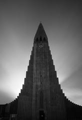 towering (Andy Kennelly) Tags: bw long exposure church iceland reykjavik hallgrimskirkja icelandic clock