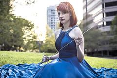 Wonder Women - Becki (6) (FightGuy Photography) Tags: becki bluedress crystalcity naturallight va strobist sword saber weapon blade redhead blue