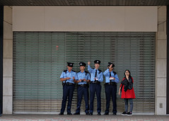 """ordinary people"" (hugo poon - one day in my life) Tags: xt2 50mm hongkong central desvoeuxroad newhenryhouse police colours red blue way directions lost vacant shop"