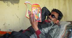 IMG_31290 (Manveer Jarosz) Tags: bahjoi bharat bhejoi chitaura hindi hindu hindustan india indian moradabad radhakrishna rajpur uttarpradesh wwoof yatharthyogashram bed book desi home indoors inside laying man people portrait reading relaxed rural sunglasses village