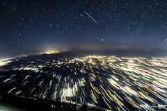 Shooting Star over Milano Outskirts (GirarFly798) Tags: aviation nightsky shooting star milano aircraft airbus a320 sky stars view lights milan italy airplane