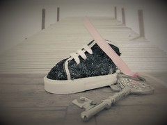 This shoe is not made for walking (babs van beieren) Tags: 7dwf crazytuesdaythemeshoes shoes shoe keychain key soft beach pink ribbon