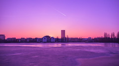 Standing Out (Tassos Giannouris) Tags: berlin germany ice river lake sun set sunset horizon skyline trees city cityscape purple nikon colour sky