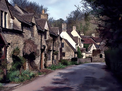 Castle Combe (Bobinstow2010) Tags: castlecombe chippenham wiltshire street village town houses topaz photoshop cottage arty