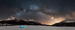 Milky Way Camping - Pano (simply erik) Tags: lucomagno milkyway camp campeggio camping cielo montagna mountain neve night notte sky snow stars stella stelle tenda tent vialattea