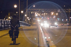 Night moves, Pont Viau (Jacques Lebleu) Tags: bridge pontviau backriver rivièredesprairies vélo cycling nuit river streetlamps cars geadlights bokeh pont halo flare ring circle flickrfriday
