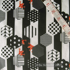 'Lizards under the hex by Su_G' on basic cotton (Su_G) Tags: sug 2017 spoonflower swatch basiccottonultra hexagonsdesignchallenge hexagons geometric geo blackandwhite blackandwhiteandorange orange lizards lizardsofthecaribbeanbysug lizard playful quirky graphic animal