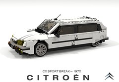 Citroen CX Sport Break - 197X (lego911) Tags: citroen cx sport break brake 197x 1976 wagon auto car moc model miniland lego lego911 ldd render cad povray modified custom france french lugnuts challenge 114 automotiveculturemashup automotive culture mashup sebastian motsch foitsop
