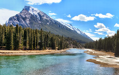 Bow River & Mount RundleICE(5)1497-1500 (photos by Bob V) Tags: mountains rockies rockymountains banff banffpark banffnationalpark alberta albertacanada panorama mountainpanorama bowriver mountrundle