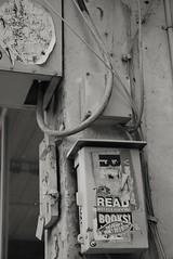 Read MF Books ! (jcbkk1956) Tags: street bangkok streetfurniture stickers graffiti thonglo thailand nikon d3300 nikkor 18140mmf3556dx books read profanity cables wires worldtrekker