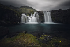 Kirkjufellsfoss @Iceland (Benjamin MOUROT) Tags: iceland islande north northernlight viking canon 70d longexposure nisifilter polarised lightroom6 photoshopcs3 1022mm landscape paysage poselongue europe 2016 july cascade cascada waterfall eau fluide chute leefilter kirkjufellfoss kirkjufell dark