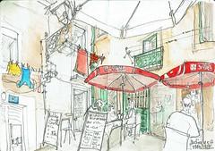 Lisbonne, pause déjeuner (Croctoo) Tags: croctoo croquis crayon croctoofr ville lisbonne aquarelle watercolor restaurant lisboa
