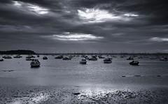 Poole Harbour (Tilney Gardner) Tags: blackandwhite sandbanks bw nikon dorset southcoast seascape clouds boats poole