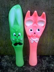 Ledraplastic Italy (The Moog Image Dump) Tags: vintage squeakers squeaker toy figure ledra ledraplastic italy soft vinyl cute kawaii rabbit mouse knife fork