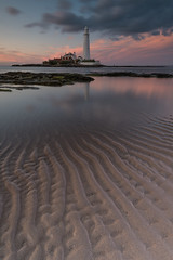 Ripples in the Sand [Explored] (russellcram) Tags: nikon d750 sunset st marys stmarys lighthouse sand water rocks clouds ripples long exposure