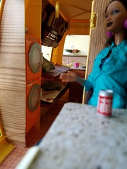Barbie Star Traveler (moonpiedumplin) Tags: fishing ken camping kitchen cabinet bar ooak frame outdoors camp camper 1976 yellow motorhome rv traveler star scale 16 diorama fun slide party wicker furniture backyard mattel doll mansion custom diy repaint redo mcdonalds 80s pool patio cottage vintage house dream barbie washer dryer